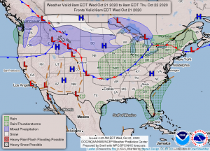 Weather Precipitation Map for October 21 2020 from NOAA.gov