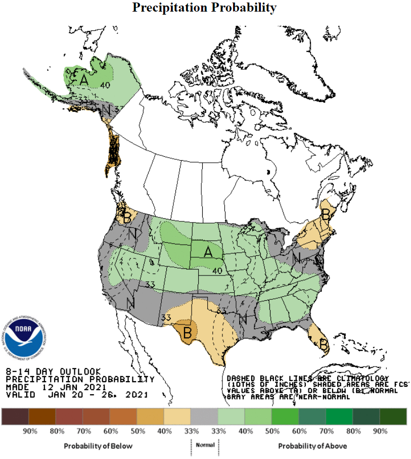 Precipitation-Probability-NOAA-January 20, 2021 - January 26, 2021 - 8 to 14 day outlook